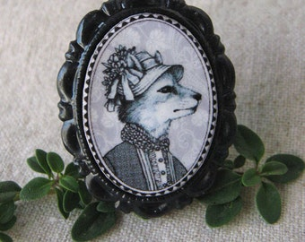 Victorian Style Anthropomorphic Animal Brooch -  Small Fox
