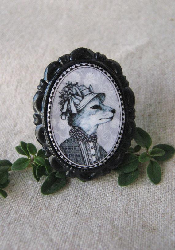 Victorian Style Anthropomorphic Animal Brooch -  Small Fox