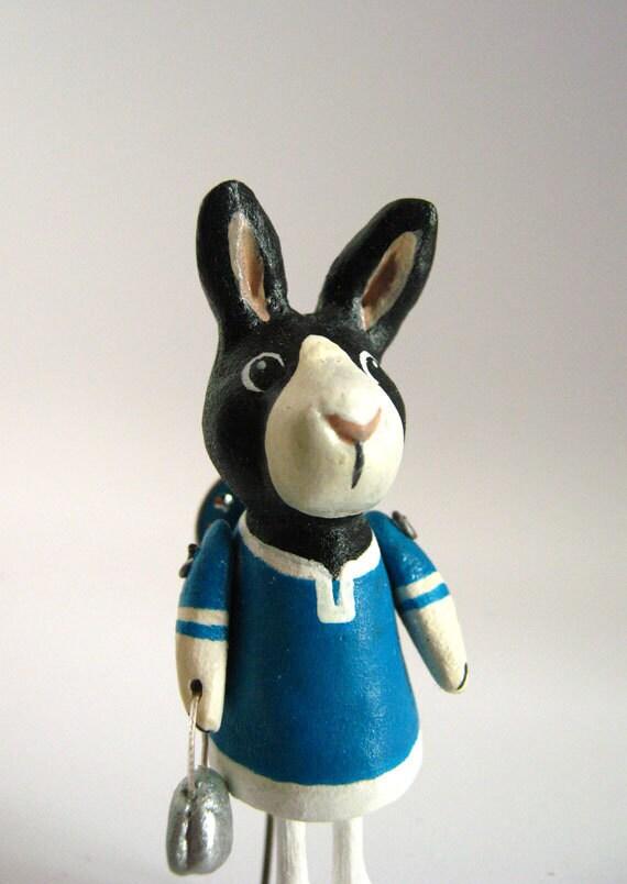 OOAK Animal Pin - Little Black Rabbit
