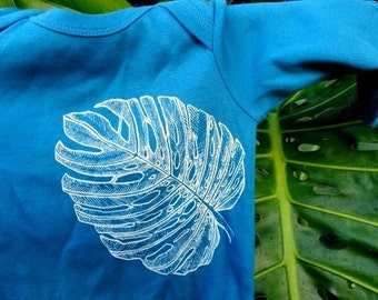 Tropical Leaf Long Sleeve Mediterranean Blue 100% Organic Baby Onesie - Monstera