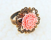 CLEARANCE 65% OFF Pretty pale pink rose cabochon ring starburst adjustable filigree ring