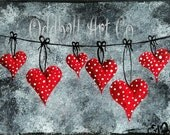 ACEO Hand Painted Hanging On To Love by Lizzy Love ( Dark Surreal Gothic Fantasy Heart Emo Original & OOAK Painting Art Card )