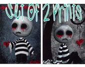 Creepy Cute Zombie Giclee Art Print Signed Reproductions Set of 2 Big Juicy Tears of Blood and Pain No1 & 2 by Lizzy Love [IMG#8] [IMG#9