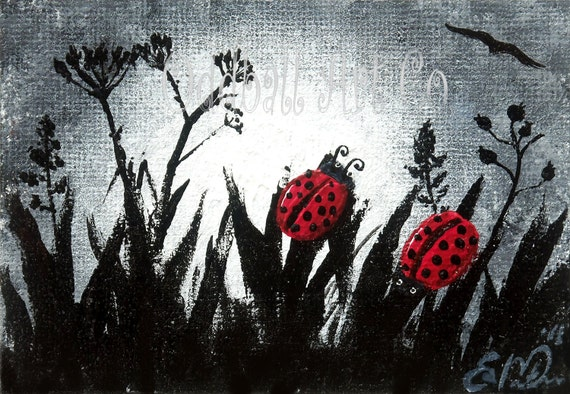 ACEO Hand Painted Dark Lowbrow Gothic Fantasy Surreal Dream Ladybug Night Dream Red Black Original  'A Love Story' No.14 of Series