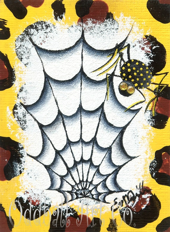 ACEO Yellow Spider Polka Dots Gem Stone Eyes Leopard Surreal Fantasy Original & One of a Kind Painting Cheer Up Buttercup Sunny Spidey