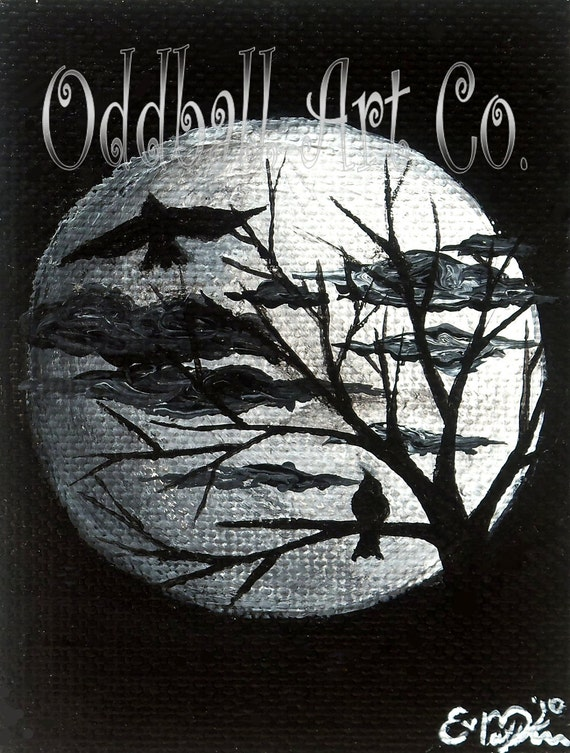 ACEO Hand Painted Dark Gothic Lowbrow Fantasy Surreal Moon Birds Tree Spooky Original & One of a Kind Painting 'A Love Story' No.4 of Series