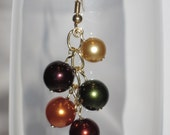 Autumn Colors Glass Pearls on Gold Chain Dangle Earrings- NICKEL FREE