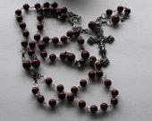 Hand Made Chain Maroon Rosary