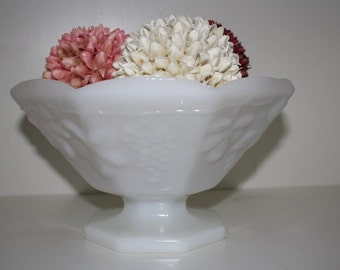 Footed Milk Glass Bowl