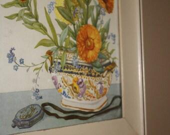 Custom Framed 1960s Era Strawflower Print