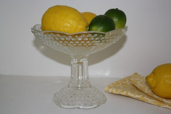 Footed Hobnail Glass Bowl