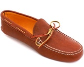 Mens Bull Hide Soft Sole Slipper Moccasin with Deerskin Lining in Tobacco Brown