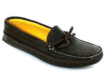 Womens Deerskin Lined Canoe Sole Leather Moccasin