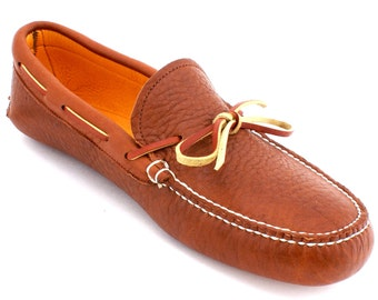 Mens Deerskin Lined Buffalo Hide Slipper Moc in Tobacco Brown