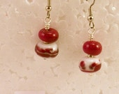 Red and White Glass Bead Earrings