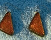 Dark Copper  Dichroic Pendant and Earring set