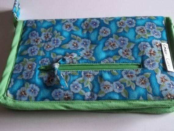 Crochet Hook Case or DPN Case in Turquoise Floral