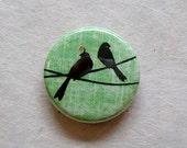 SALE Green Lovebirds Magnet Fridge Illustration Art