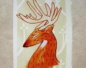 Brown Deer Postcard Print 4x6 Illustration Art