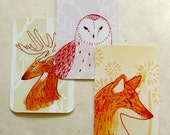 Fox Deer and Barn Owl Postcards Print 4x6 Illustration Art