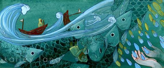 "24x10"" Fisherman Watercolour Gouache Painting Illustration Poster Print"