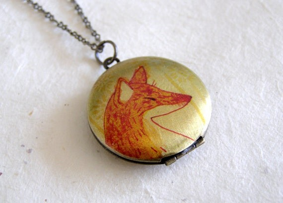 Fox Locket Necklace Cable Chain Illustration Art Pendant