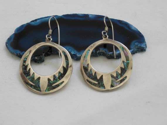 Vintage Taxco 925 Sterling Silver and Inlaid Abalone Hoop Earrings