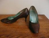 Vintage 1950s Shoes Pumps Palizzio Pin Up Alligator Skin Shoes