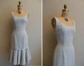 Vintage 1950s Dress Bead Mine Lee Jordan New York Wiggle Dress