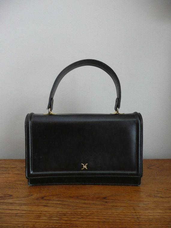Vintage 1950s 1960s Brown Leather Handbag with Change Purse