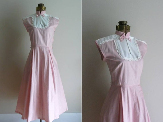 Vintage 1940s Dress Pink Confection Cotton Sun Dress