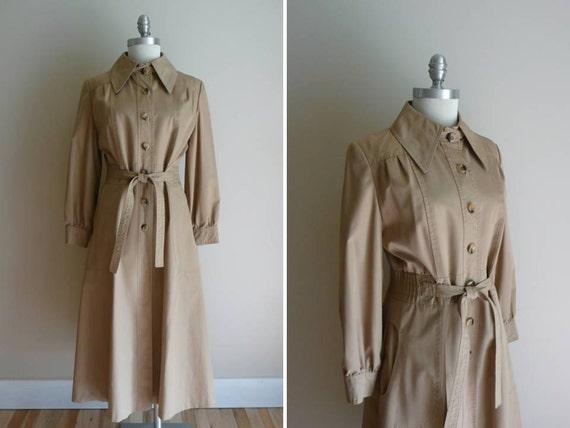 Vintage 1970s Eye Spy Khaki Trench Coat