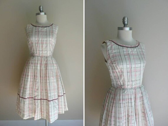 Vintage 1950s Pink Plaid Cotton Summer Sun Dress