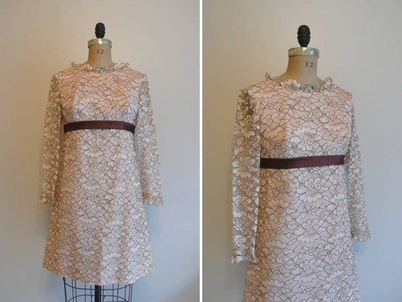 Vintage 1960s Dress Lace Up Blush Lace Mini