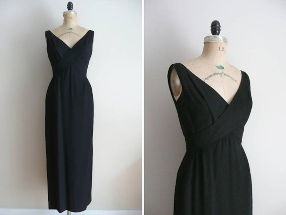 Vintage 1950s 1960s Dress Night Moves Black Evening Gown