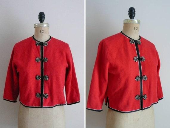 Vintage 1950s Sweater Far East Arts Asian Cardigan
