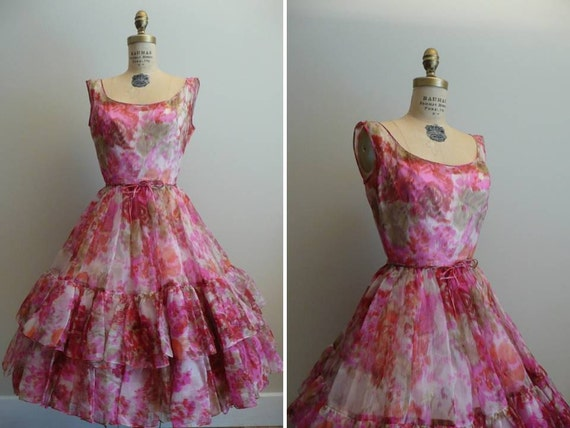 Reserved for Cindy // Vintage 1950s 1960s Party Dress Floral Chiffon