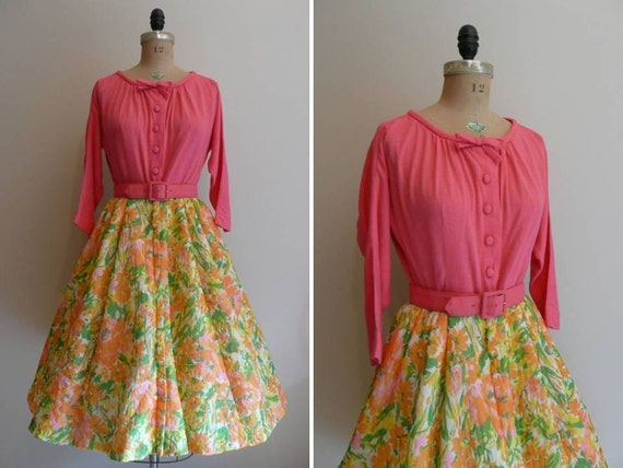 Vintage 1960s Dress Quilted Hostess Dress