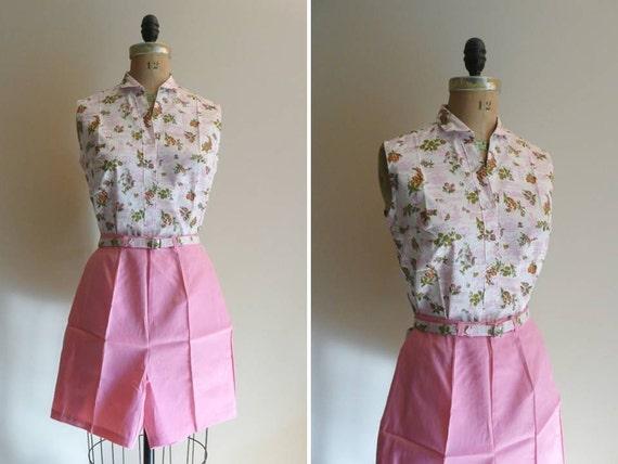 Vintage 1950s 1960s Shirt and Shorts Jamacian Set NOS NWT Deadstock