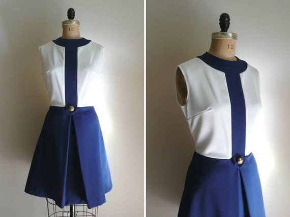 Reserved // Vintage 1960s Mod Scooter Dress Blue and White