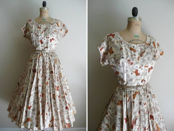 Reserved // Vintage 1950s Dress Party Dress Butterfly Print