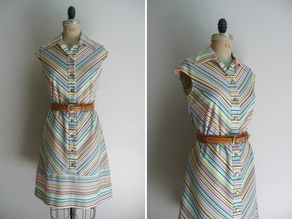 Vintage 1960s Mod Chevron Dress Neiman Marcus