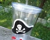Personalized Acrylic Tumbler - Pirate design, party favors or for at the pool or beach