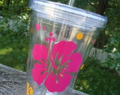 Personalized Acrylic Tumbler - Hibiscus Flower design, party favors or for at the pool or beach