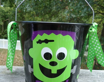 Personalized Halloween trick or treat bucket - Frankenstein and other designs