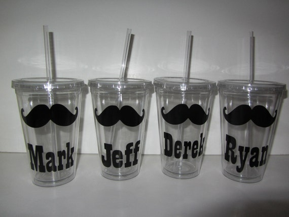 6 Personalized acrylic tumblers - mustache - mix and match designs - parties, bachelor, party favors