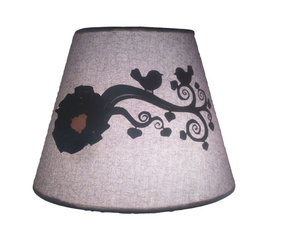 Gray and Tan Lamp Shade with a silhouette of two birds on branch and flower