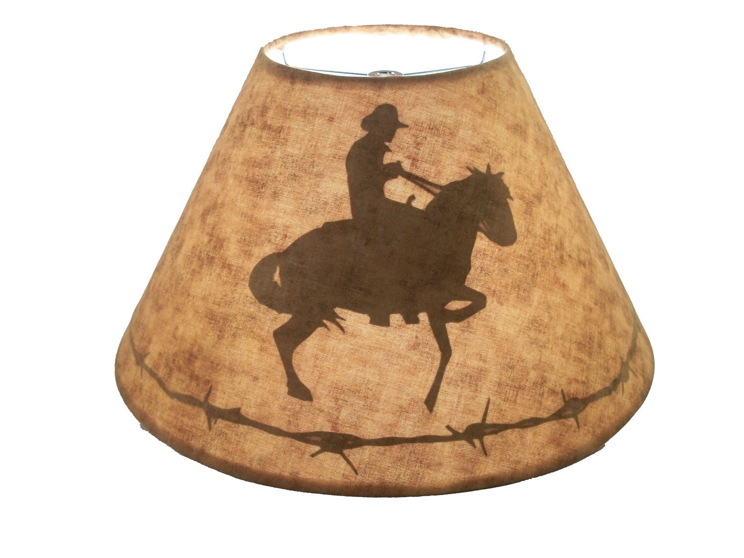 Western Lamp Shade With A Silhouette Of A Horse And Cowboy