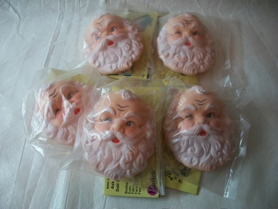 Set of Five Santa Heads, 3in Flat vinyl faces, vintage