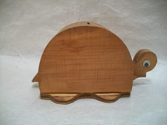 Vintage wooden turtle coin bank handmade for Handmade coin bank